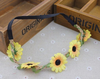 Daisy Headband, Headpiece, Yellow, Hair, Accessories, Hairband, Floral, Boho, Headband, Girls, Teens, Plaited Brown Suede, Festival, Garland