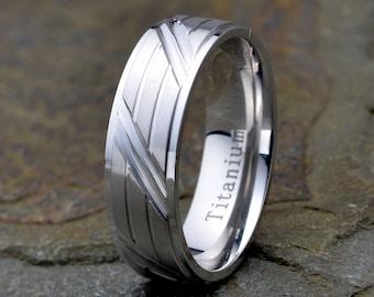 Titanium Wedding Band, Brushed Grooved Horizontal and Diagonal wedding Ring, 6.5mm mens women's wedding band, Custom Engraved Band, Ring