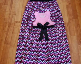 Mother and daughter outfit, mommy and me dress, family outfit, mother size S/M daughter size 6/8matching dresses, chevron matching dresses.
