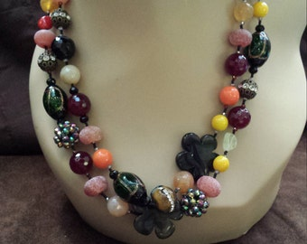 Two strand colorful beaded necklace with assorted faceted stones