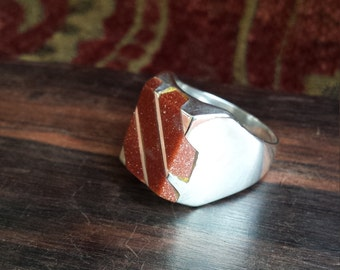 Sterling silver vintage inlaid Italian copperstone men's ring size 10 size