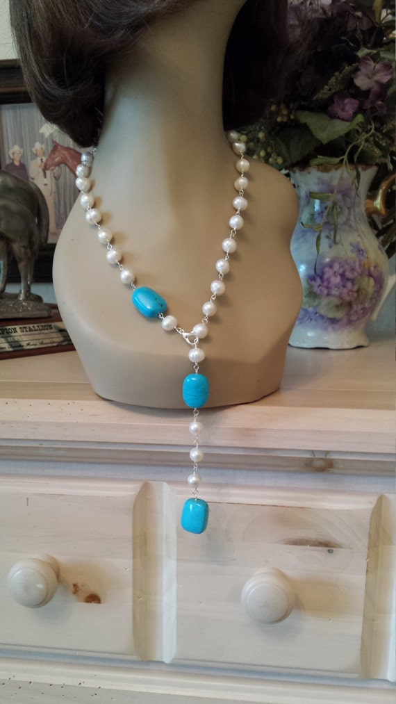 Freshwater pearl adjustable lenght necklace with blue turquoise
