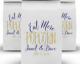 Popcorn Favor Bags, Wedding Favors, Popcorn Buffet, Favor Label, Gourmet Popcorn, Dessert Buffet, Popcorn Bags, Love is Sweet
