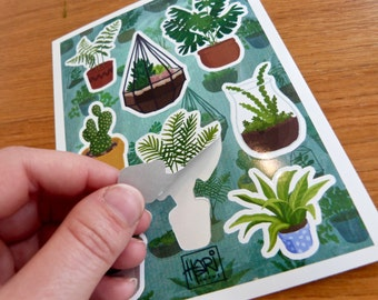 Plant sticker set - 8 illustrated vinyl stickers of different plants - terrariums, succulents, cacti