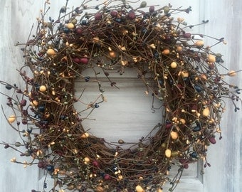 Grapevine Wreath - Pip Berry Wreath in  ixed Country Colors - Primitive Wreath-Free Shipping