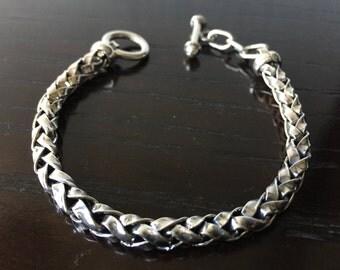 Mens 9.25 Sterling Silver 6 mm Torzal Spike chain bracelet handmade.