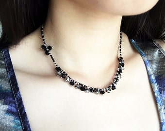 Handmade short beaded necklace, black and white, Minimal, Made to order available.