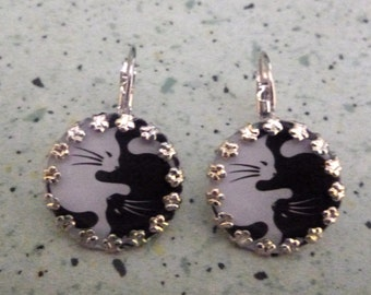 ying yang cat earrings