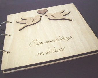 PIGEONS in LOVE anniversary Gift: Wood covered scrapbooking photo album, topped with our free, unique custom-made personal engraving service