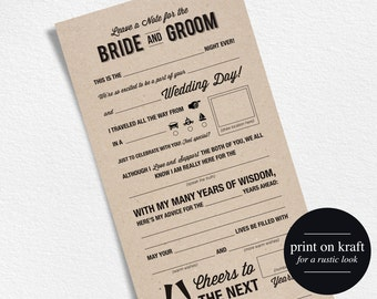 Wedding Advice Card, Mad Libs, Wedding Printable, Marriage Advice Card, Advice Card, Mad Lib Printable, Instant Download #BPB27