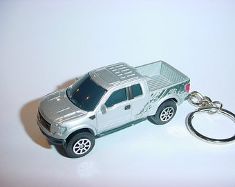 3D 2010 Ford F-150 Raptor truck custom keychain by Brian Thornton keyring key chain finished in Silver 4x4 racing trim pick up offroad