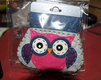 Pink Owl Felt Coin Purse