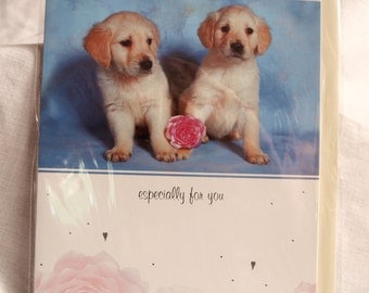 Labrador Puppies with Ball Birthday Card