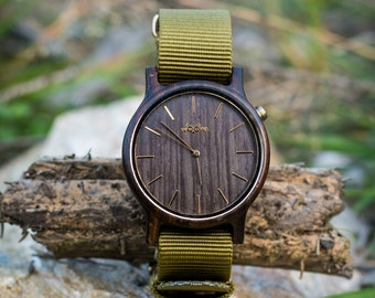 Elegant Handmade Wood Watches With Czech Design Made From Sandal Wood With Khaki changeable Strap