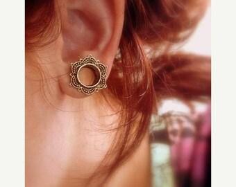 """Brass lotus ear tunnel 4m-18mm 6g 2g 0g 00g 000g 9/16"""" 5/8"""" 11/16"""". ear tunnels. ear plugs. lotus plugs. gauges. ear"""