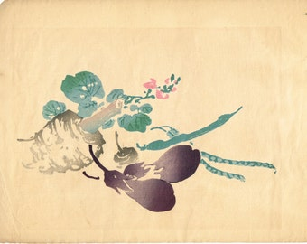 """1913, Japanese Woodblock print, antique, Nakabayashi Chikuto, """" Vegetables"""""""