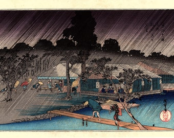 "Japanese Ukiyoe, Woodblock print, antique, Hiroshige, ""Shower at Tadasugawara"""