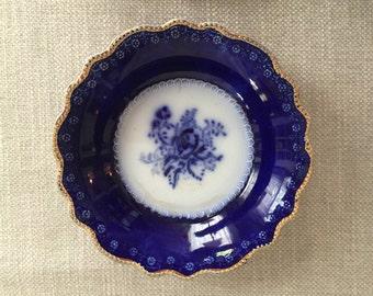 Set of 4 Antique Flow Blue Blue Rose Fruit, Dessert, Salad, Sauce Bowls by W. H. Grindley, Made in England