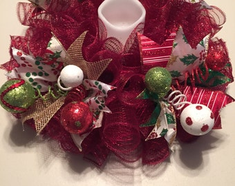 Christmas Burgundy Mesh Centerpiece