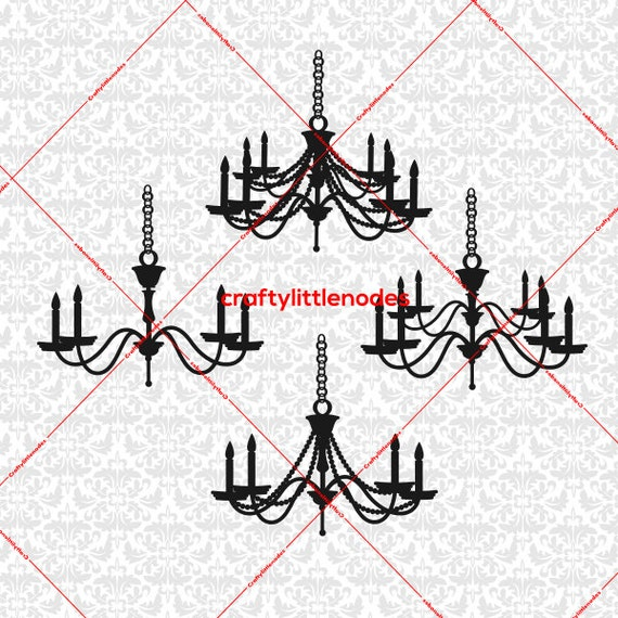 Chandelier Dining Room Fancy Candle SVG STUDIO Ai EPS Scalable Vector Instant Download Commercial Use Cutting File Cricut Silhouette