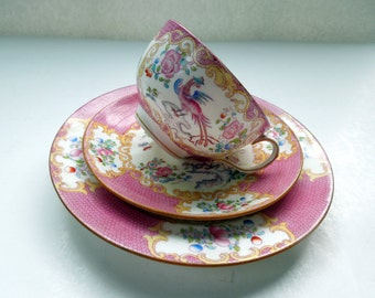 Minton Cup Saucer Plate Trio Cockatrice 9646 Enamel Polychrome Colors Pink Wedding Anniversary Birthday Collector Christmas Gift 1888