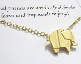 Elephant Necklace, Origami Zoo Necklace, Best Friend Necklace |A5gold| Friendship necklace, Birthday Gift, Christmas Gift