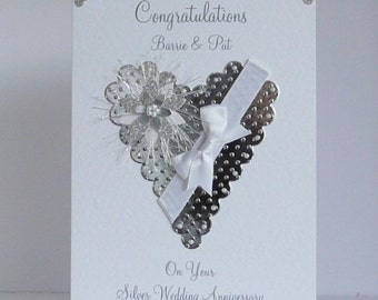 Personalised Silver 25th Wedding Anniversary Card Wife/Husband Customized with envelope or box