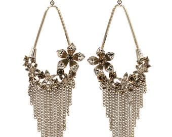 Pendant tassel and flower small crystal earrings