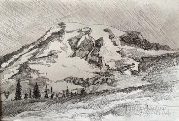 Rainier, Mount Rainier, mountain, pencil drawing mountains, landscape, pencil drawing, Northwest, Pacific Northwest art