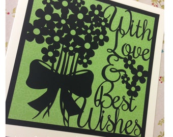 With Love and Best Wishes Paper Cutting Template - Commercial Use