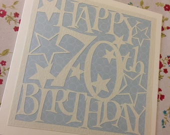 70th Birthday Stars Paper Cutting Template - Commercial Use
