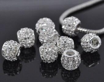10 Hollow Clear Rhinestone Beads Fit Charm Bracelet