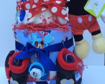 Mickey Mouse Disney 3 Tier Baby Diapercake Diaper cake Shower Centerpiece
