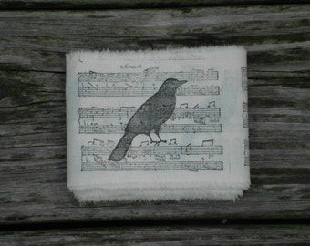 Frayed Edge Trim, Stamped Ribbon, Muslin Ribbon, Hand Stamped Trim, Crow Music Trim, Primitive Trim, Prim Ribbon,