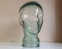 Glass Mannequin Head Blue/Green Tint ~ Wig, Hat, Sunglasses, Headphone Display ~ Unique Retail and Photography Prop Display ~ Odd Home Decor