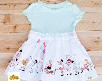 NEW!! Children at Play on Parade tee shirt dress- Balloons & Elephant, Wedding, Photo shoot, birthday, special occasion and everyday dress.