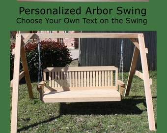 New Personalized Short A-Frame Swing Stand & 5 Foot Porch Swing - Choice of Name/Phrase Woodburned on Swing - Hanging Rope - Free Shipping