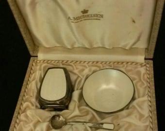 Antique boxed salt set by A. Michalsen