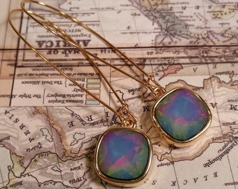 Earrings, Swarovski Earrings, White Opal Electra, Gold Plated Drop with Long Kidney Ear Wire
