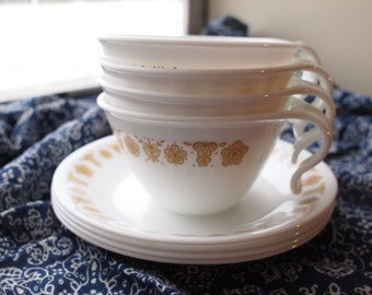 Set of 4 Vintage Corelle Butterfly Gold Hook-Handled Cups with Saucers
