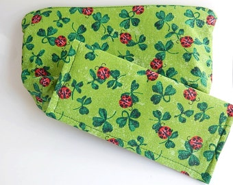 Green Sparkly Ladybug Cosmetic Bag and Checkbook Cover, Purse Accessories, Gift for Her, Fashion Accessories, Two Piece Purse Set