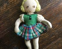 Felt Doll Girl with Yarn hair / Plaid skirt / Stitched Eyes