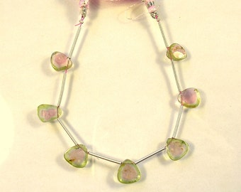 Watermelon tourmaline slice beads 9-10mm 13ct 7 pieces