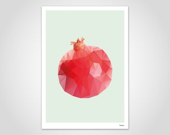 POMEGRANATE - modern poster, abstract art prints, modern wall art prints, low poly, graphics design, geometric, minimalistic