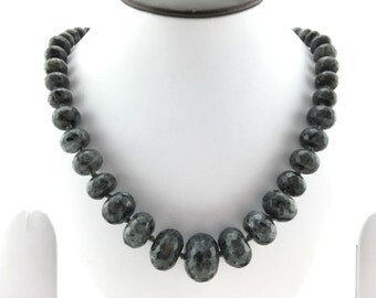 Semi precious stone bead agate necklace - Graphite grey natural agate gemstones, black onyx jewellery, Beaded necklace for women