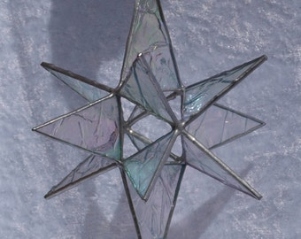 Stunning 12 point 3D stained glass Moravian star in an iridised crinkle effect glass