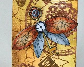 Digital stamp colouring image -  Steampunk dragonfly. jpeg / png