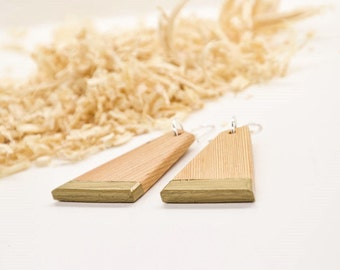 Gold Wood Earrings, Gold Earrings, Wood Earrings, Wooden Earrings, Gold Jewelry, Wood Jewelry, Strip Earrings, Gold Strip, Handcut Wood,
