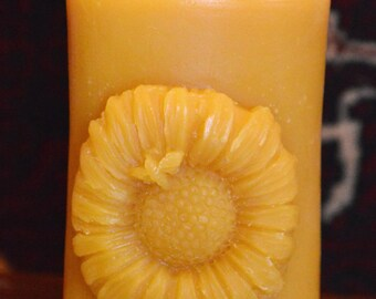 100% Pure Beeswax Candle- Sunflower with Bees by Hillside Honey Apiary