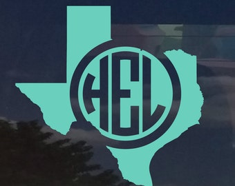 Texas Circle Monogram Initials Vinyl Decal Sticker cars yeti cup laptop phone